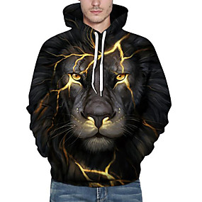 cheap Graphic Hoodies-Men's Plus Size Casual / Daily Hoodie Sweatshirt 3D Animal Print Hooded Active Hoodies Sweatshirts  Long Sleeve Loose Black / Fall / Winter