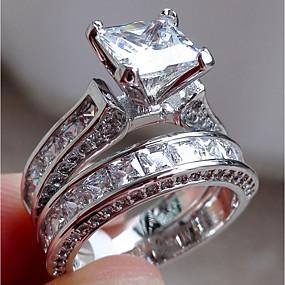 billige engasjement-Dame Forlovelsesring Belle Ring Diamant Kubisk Zirkonium Syntetisk Diamant 2pcs Sølv Grønn Ring til sølvdrag Rustfritt Stål Geometrisk Form Fire tenger damer Uvanlig Unikt design Bryllup Engasjement