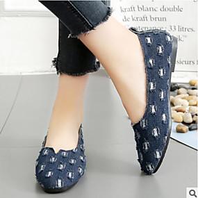 voordelige Damesschoenen met platte hak-Dames Platte schoenen Platte hak Gesloten teen  Denim Comfortabel Wandelen Lente / Zomer Zwart / Donkerblauw / Blauw