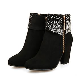 preiswerte Small Size Shoes-Damen Stiefel Blockabsatz Spitze Zehe Strass Wildleder Booties / Stiefeletten Komfort / Neuheit / Stiefeletten Herbst / Winter Schwarz / Rot / Blau / Hochzeit / Party & Festivität / EU39