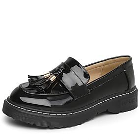 levne Dámské mokasíny-Dámské Nokasíny Tassel Shoes Nízký podpatek Oblá špička PU Mokasíny Jaro / Podzim Černá / Mandlová / EU39