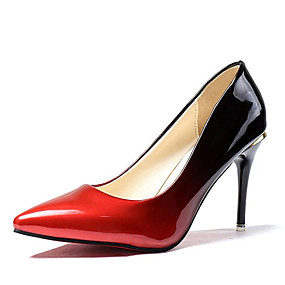 Недорогие Лодочки-Жен. Обувь на каблуках Высокий каблук Заостренный носок Полиуретан Удобная обувь Весна / Осень Серый / Красный / Контрастных цветов / EU39