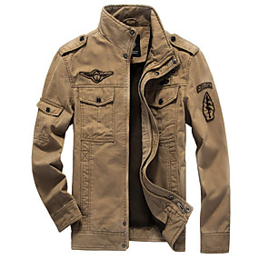 cheap Athleisure Wear-Men's Jacket Solid Colored Military Winter Basic Jackets Stand Collar Regular Coat Daily Long Sleeve Jacket Army Green / Cotton