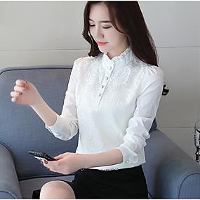 preiswerte Damenbekleidung-Damen Solide - Street Schick Hemd, Ständer Schwarz / Herbst