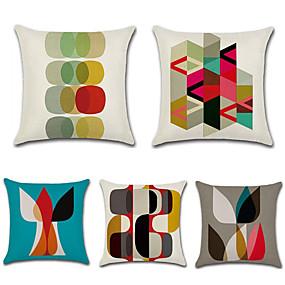 preiswerte Neu Eingetroffen-5 Stück Baumwolle / Leinen Kissenbezug, Geometrisch Bohemian Stil Retro