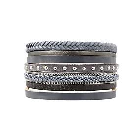 preiswerte Damenschmuck-Damen Wickelarmbänder Lederarmbänder damas Einfach Klassisch Retro Leder Armband Schmuck Grau Für Alltag Ausgehen