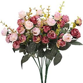 preiswerte Kunstblume-Künstliche Blumen 2 Ast Pastoralen Stil Rosen Tisch-Blumen