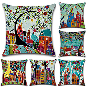 cheap Bedroom-Set of 6 Botanical Bohemian Style Retro Cotton Linen Decorative Square Throw Pillow Covers Set Cushion Case for Sofa Bedroom Car