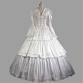 preiswerte Ideias Para Aproveitar o Tempo Livre-Rokoko Viktorianisch 18. Jahrhundert Kleid Austattungen Damen Satin Kostüm Weiß Vintage Cosplay Party Abiball Langarm Ballkleid Übergrössen Kundenspezifische