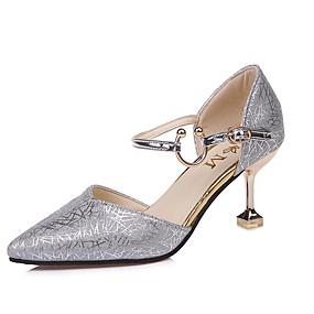 billige Pumps-Dame Høye hæler Liten hæl Spisstå PU Komfort / Trendy støvler Vår / Sommer Gull / Svart / Sølv / Formell / EU37