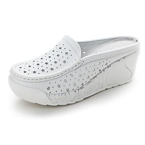 cheap Women's Clogs & Mules-Women's Clogs & Mules Wedge Heel Leather Comfort Spring / Fall White / Light Blue