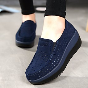cheap Top Sellers-Women's Loafers & Slip-Ons Wedge Heel Round Toe Cowhide Comfort Summer / Fall Dark Blue / Gray / Red / EU40