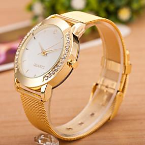 preiswerte Schmuck & Armbanduhren-Damen Uhr Armbanduhr Quartz Uhr Diamond Watch Quartz Edelstahl Silber Armbanduhren für den Alltag Cool Analog damas Freizeit Modisch Schwarz / Silber Weiß / Silber Gold / Ein Jahr / Ein Jahr