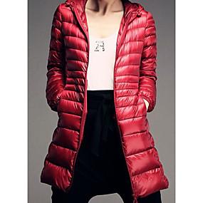 preiswerte Damenbekleidung-Damen Alltag Solide Lang Daunenjacke, Baumwolle / Polyester Langarm Fuchsia / Wein / Khaki 4XL / XXXXXL / XXXXXXL