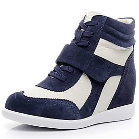 cheap Women's Wedges-Women's Sneakers Wedge Heel Round Toe Cowhide Comfort / Fashion Boots Fall / Winter Brown / Pink / White / White / Blue / Color Block / EU40