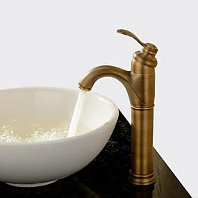 preiswerte Heim-Waschbecken Wasserhahn - drehbar Antikes Messing Mittellage Ein Loch / Einhand Ein LochBath Taps