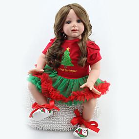 baratos Brinquedos-NPKCOLLECTION BONECA DE NPK Bonecas Reborn Bebê 24 polegada Silicone Vinil - realista Fofinho Á Mão Segura Para Crianças Non Toxic Adorável de Criança Para Meninas Brinquedos Dom / CE / Cabeça Floppy