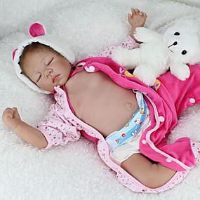 baratos Brinquedos-NPKCOLLECTION BONECA DE NPK Bonecas Reborn Brinquedo Para Bebê Bebê Boneca Reborn 22 polegada Silicone - realista Fofinho Á Mão Segura Para Crianças Non Toxic Adorável de Criança Brinquedos Dom
