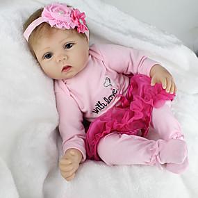 baratos Brinquedos-NPKCOLLECTION BONECA DE NPK Bonecas Reborn Boneca menina Bebês Meninas Boneca Reborn 22 polegada Silicone Vinil - realista Fofinho Á Mão Segura Para Crianças Non Toxic Adorável de Criança Para Meninas