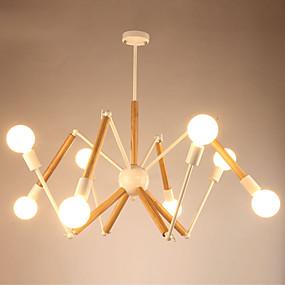 povoljno Lámpatestek-LightMyself™ 8-Light Privjesak Svjetla Ambient Light Slikano završi Metal Wood / Bamboo Black & White 110-120V / 220-240V Meleg fehér / Bijela Bulb Included / E26 / E27