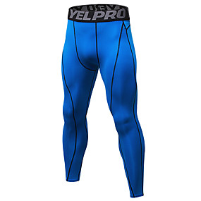 cheap Yoga & Fitness-YUERLIAN Men's High Waist Running Tights Leggings Compression Pants Cropped Leggings Thermal Warm Breathable Moisture Wicking Black / Red White Black Fitness Gym Workout Running Sports Activewear