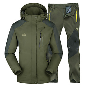 cheap Under €49-Men's Hiking Jacket with Pants Winter Outdoor Thermal / Warm Waterproof Windproof Insulated Jacket Top Bottoms Skiing Camping / Hiking Hunting Green / Black Red+Black Green+Gray L XL XXL XXXL 4XL -