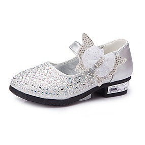cheap Kids' Shoes Promotion-Girls' Comfort / Flower Girl Shoes Leatherette Heels Little Kids(4-7ys) / Big Kids(7years +) Rhinestone / Bowknot / Sparkling Glitter Silver / Blue / Pink Spring / Fall / Wedding / Magic Tape