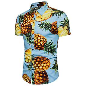 preiswerte Herrenmode-Herrn Frucht Strand Baumwolle Hemd, Klassischer Kragen Ananas Weiß / Kurzarm / Sommer