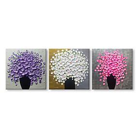 povoljno Slike za cvjetnim/biljnim motivima-Hang oslikana uljanim bojama Ručno oslikana - Mrtva priroda Cvjetni / Botanički Comtemporary Moderna Uključi Unutarnji okvir / Tri plohe / Prošireni platno