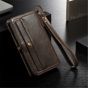 cheap Phones & Accessories-CaseMe Case For Apple iPhone X / iPhone 8 Plus / iPhone 8 Wallet / Card Holder / Flip Full Body Cases Solid Colored Hard Genuine Leather
