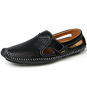 cheap Men's Clogs & Mules-Men's Formal Shoes Nappa Leather Spring & Summer Business / Casual Clogs & Mules Black / Blue / Brown
