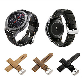 cheap Smartwatch Bands-Watch Band for Gear S3 Frontier Gear S3 Classic LTE Gear S3 Classic Samsung Galaxy Classic Buckle Genuine Leather Wrist Strap
