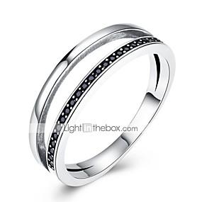 billige Vintage Ring-Dame Band Ring Kubisk Zirkonium Sølv Zirkonium S925 Sterling Sølv Geometrisk Form damer Klassisk Vintage Daglig Arbeid Smykker