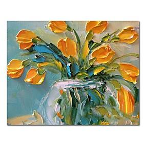 povoljno Slike za cvjetnim/biljnim motivima-Hang oslikana uljanim bojama Ručno oslikana - Mrtva priroda Cvjetni / Botanički Comtemporary Moderna Uključi Unutarnji okvir / Prošireni platno