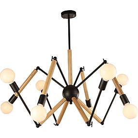 povoljno Lámpatestek-LightMyself™ 8-Light Lusteri Ambient Light Slikano završi Metal Wood / Bamboo Black & White 110-120V / 220-240V Meleg fehér / Bijela Bulb Included / E26 / E27
