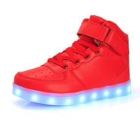 preiswerte Schuhe für Kinder-Jungen Leuchtende LED-Schuhe PU Sneakers Große Kinder (ab 7 Jahren) Paillette / LED Schwarz / Silber / Rot Herbst / Winter / Gummi