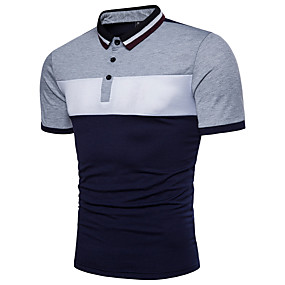 cheap Daily Deals-Men's Color Block Black & White Basic Polo - Cotton Active Daily Shirt Collar Red / Yellow / Light gray / Summer / Short Sleeve