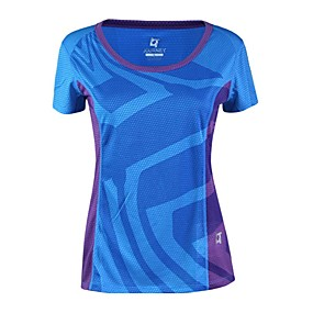 cheap Camping, Hiking & Backpacking-Women's Hiking Tee shirt Short Sleeve Crew Neck Tee Tshirt Top Outdoor Quick Dry Breathable Fitness Back Country Summer POLY Solid Color Yellow Fuchsia Blue Camping / Hiking Outdoor Exercise