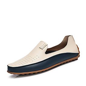 preiswerte Herren Bootsschuhe-Herrn Komfort Schuhe Mikrofaser Frühling / Sommer Britisch Bootsschuhe Weiß / Blau