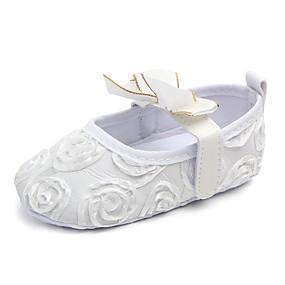 preiswerte Labor Day Sales-Mädchen Lauflern / Kinderbett Schuhe Stoff Flache Schuhe Schleife / Klettverschluss Weiß / Schwarz / Rosa Frühling Sommer