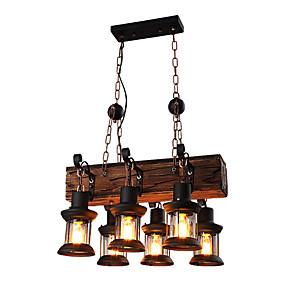 cheap Lantern Design-6-Light 30 cm Mini Style Pendant Light Metal Industrial Wood Artistic / Retro 110-120V / 220-240V