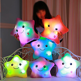 baratos Brinquedos-Luminous pillow Led Light Pillow Start Shape Romance Animais de Pelúcia Adorável Confortável Para Meninas Brinquedos Dom