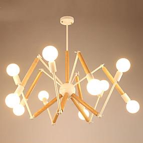 povoljno Lámpatestek-LightMyself™ 10-Light Lusteri Ambient Light Slikano završi Metal Wood / Bamboo Black & White 110-120V / 220-240V Meleg fehér / Bijela Bulb Included / E26 / E27