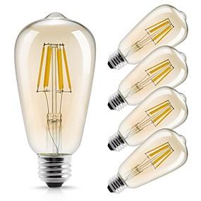 preiswerte 10% Rabatt-5 Stück 6 W LED Glühlampen 560 lm E26 / E27 ST64 6 LED-Perlen COB Dekorativ Warmes Weiß 220-240 V