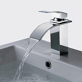 preiswerte Discount-Hähne-Badewannenarmaturen / Armatur für die Küche / Waschbecken Wasserhahn - Wasserfall Chrom Becken Einhand Ein LochBath Taps