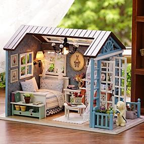 baratos Brinquedos-Doll House DIY Miniature Dollhouse Model Adorável Faça Você Mesmo Requintado Romance Mobília De madeira Silicone Crianças Para Meninas Brinquedos Dom