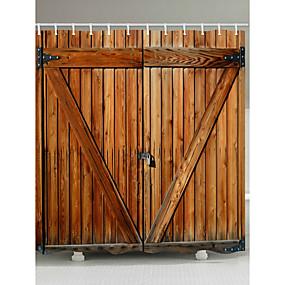 preiswerte Duschvorhänge-Duschvorhänge mit Haken rustikale Holztür Scheunentür Polyestergewebe wasserdicht Duschvorhang für Badezimmer