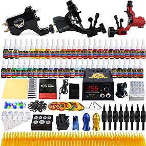 preiswerte Tattoo Beginner Sets-Komplettes Tattoo Kit 3 x Drehtattoomaschine für Umrißlinien und Schattierung 3 Tattoo-Maschinen Tinten geliefert Getrennt