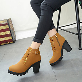 cheap Fashion Boots-Women's Boots Chunky Heel Round Toe PU Fall & Winter Black / Brown / Army Green