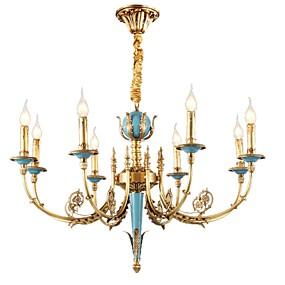 preiswerte Kronleuchter-ZHISHU 8-Licht Kerzen-Stil Kronleuchter Deckenfluter Messing Metall Kristall, Ministil 110-120V / 220-240V Inklusive Glühbirne